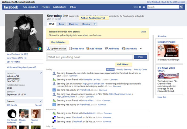 Facebook Profile Design: History of Changes