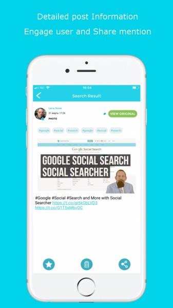Social Searcher iOS Social Post Sharing App